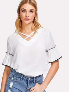 Wave Lace Trim Crisscross Neck Top