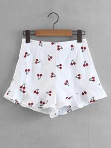 Cherry Print Ruffle Hem Shorts