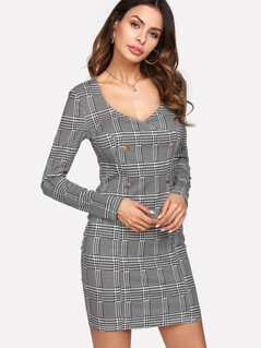 Double Breasted Plaid Dress