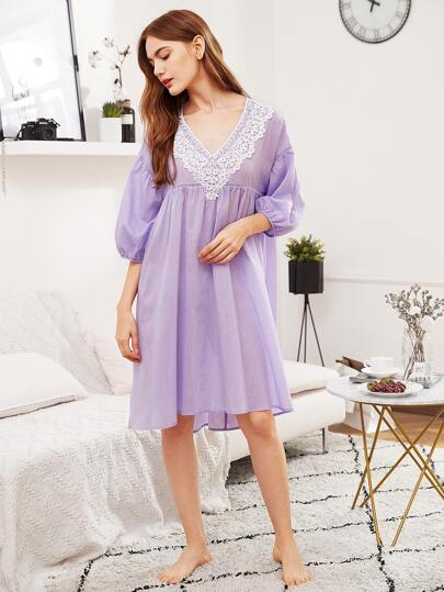 Contrast Lace Trim High Low Nightdress