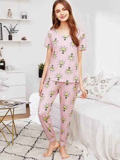 Light Bulb Tee & Pants PJ Set