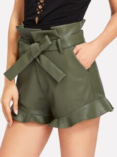 Self Belt Faux Leather Ruffle Shorts
