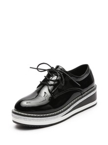 Patent Leather Lace Up Wedge Oxfords