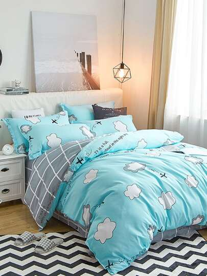 1.5m 4Pcs Cloud & Grid  Print Duvet Cover Set