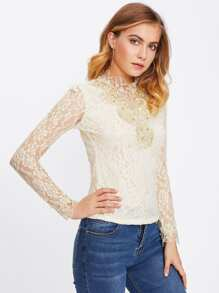 Pearl Beading Lace Blouse