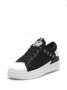 Grommet Detail High Top PU Sneakers