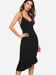 Asymmetrical Ruffle Hem Fitted Slip Dress