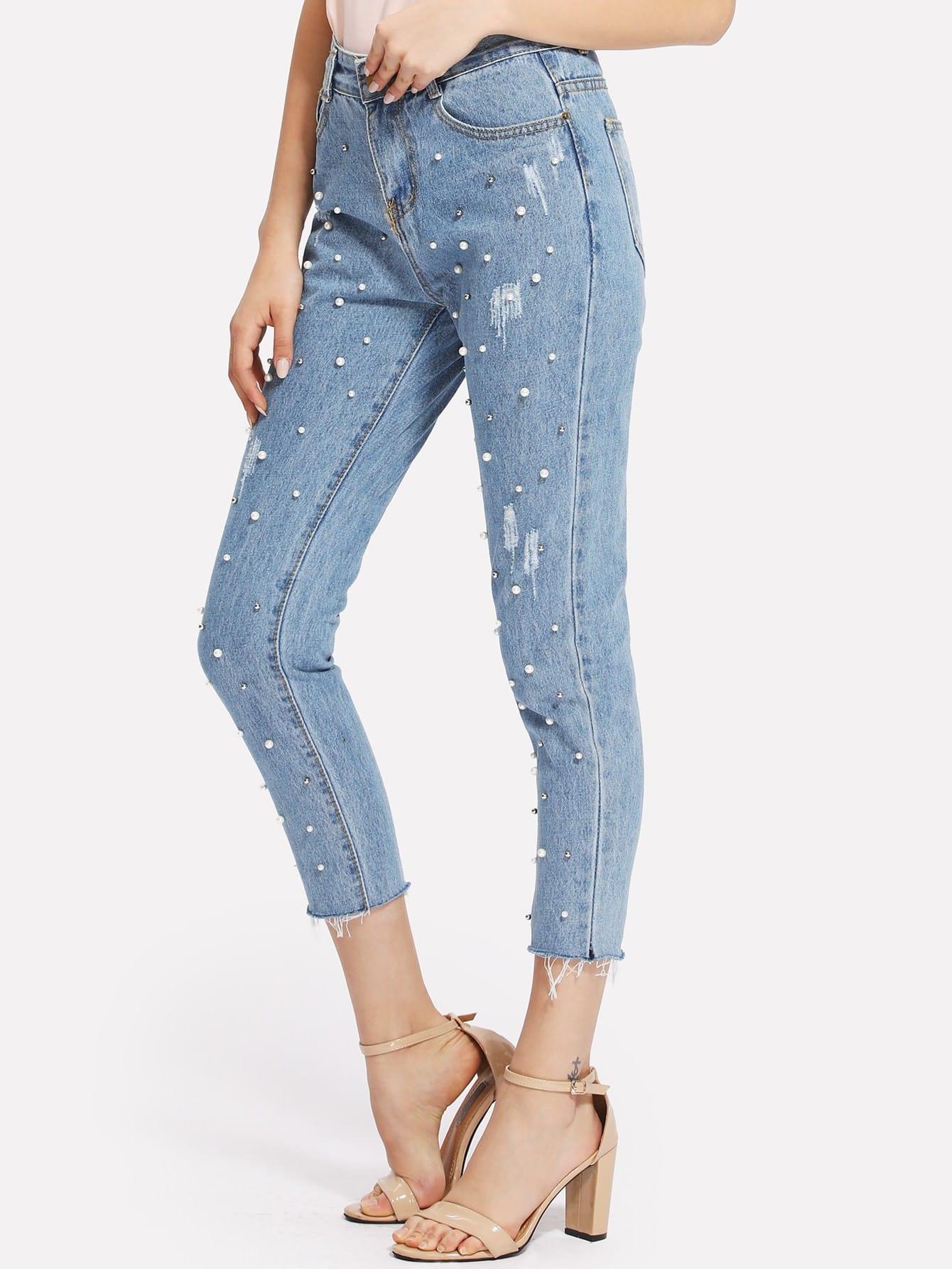 Raw Hem Faux Pearl Jeans