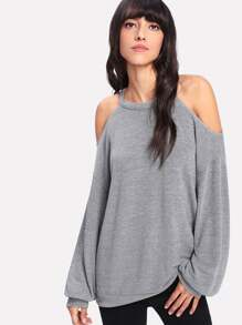 Open Shoulder Marled Pullover