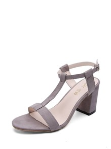 Strappy Design Block Heeled Sandals