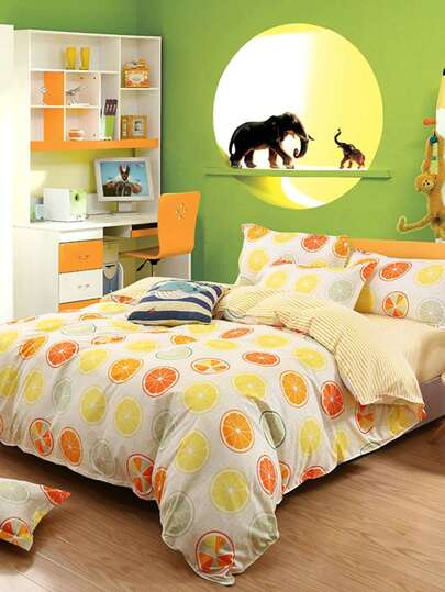 2.2m 4Pcs Orange Print Full Over Bed Sheet Set