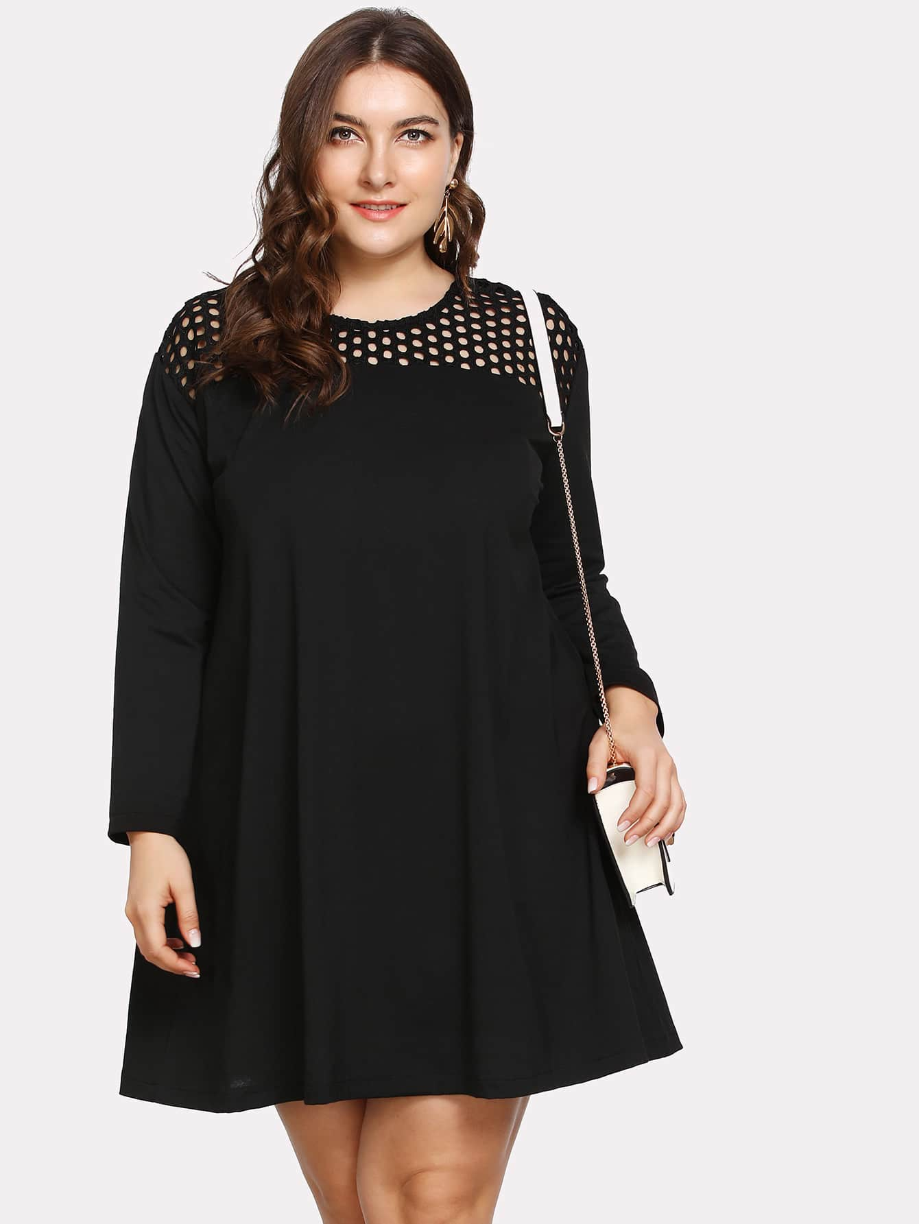 Plus Laser Cut Insert Tunic Dress вентиляторы