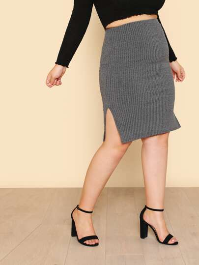 Side Split Rib Knit Pencil Skirt