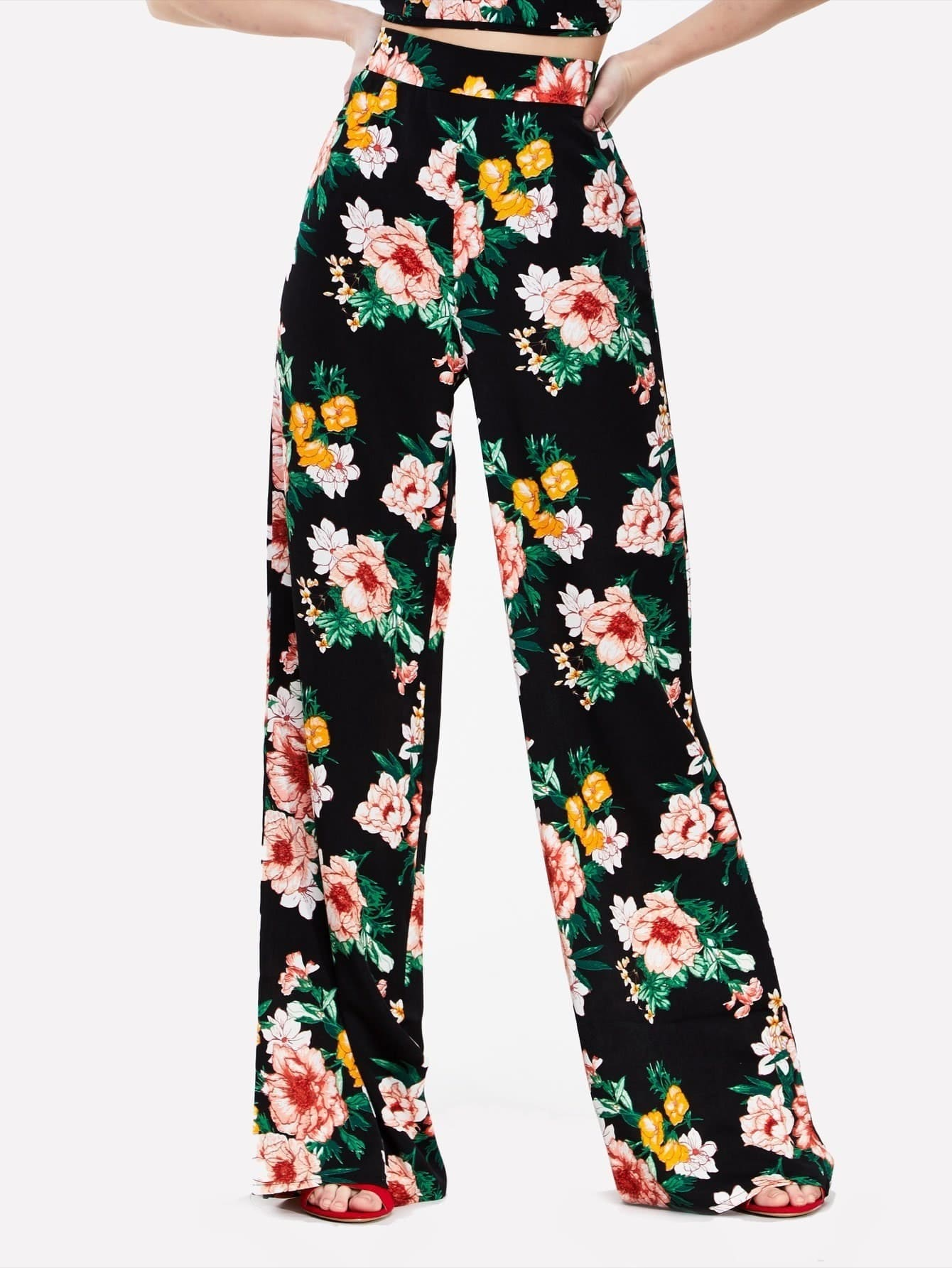 Floral Print Wide Leg Trousers floral print wide leg trousers