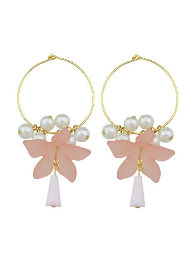 Pink Art Wind Tea Flowers Earrings