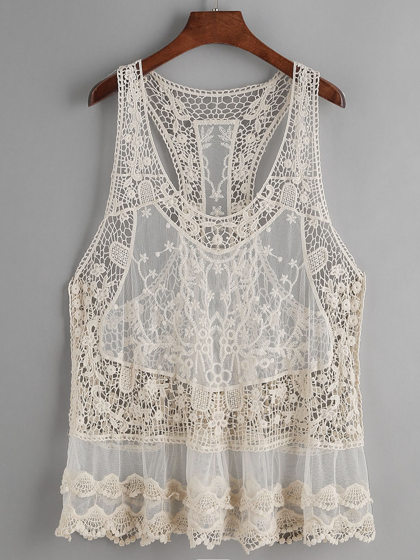 Beige Hollow Out Crochet Lace Tank Top crochet lace hollow out cami top