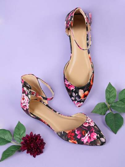 Floral Print Pointy Toe Flat with Thin Ankle Strap MULTI
