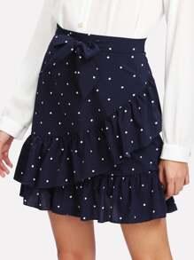 Polka Dot Ruffle Hem Self Tie Skirt