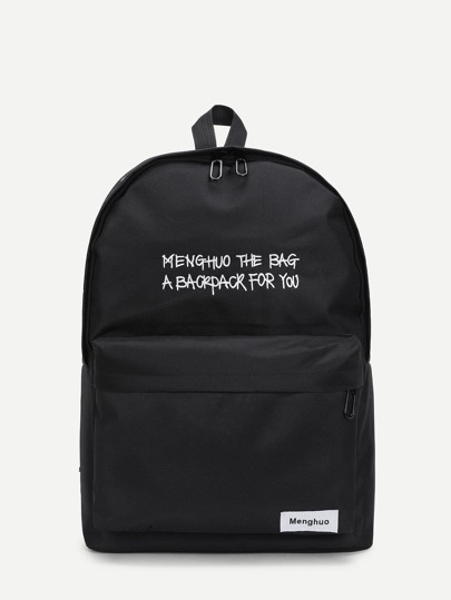 Letter Print Pocket Front Canvas Backpack