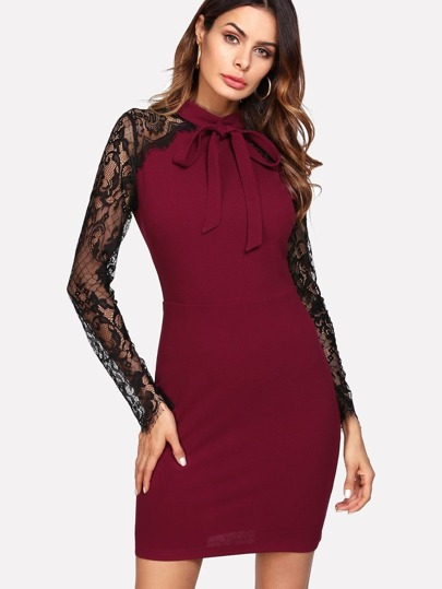 Bow Tie Front Floral Lace Sleeve Dress