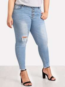 Button Up Raw Hem Ripped Jeans