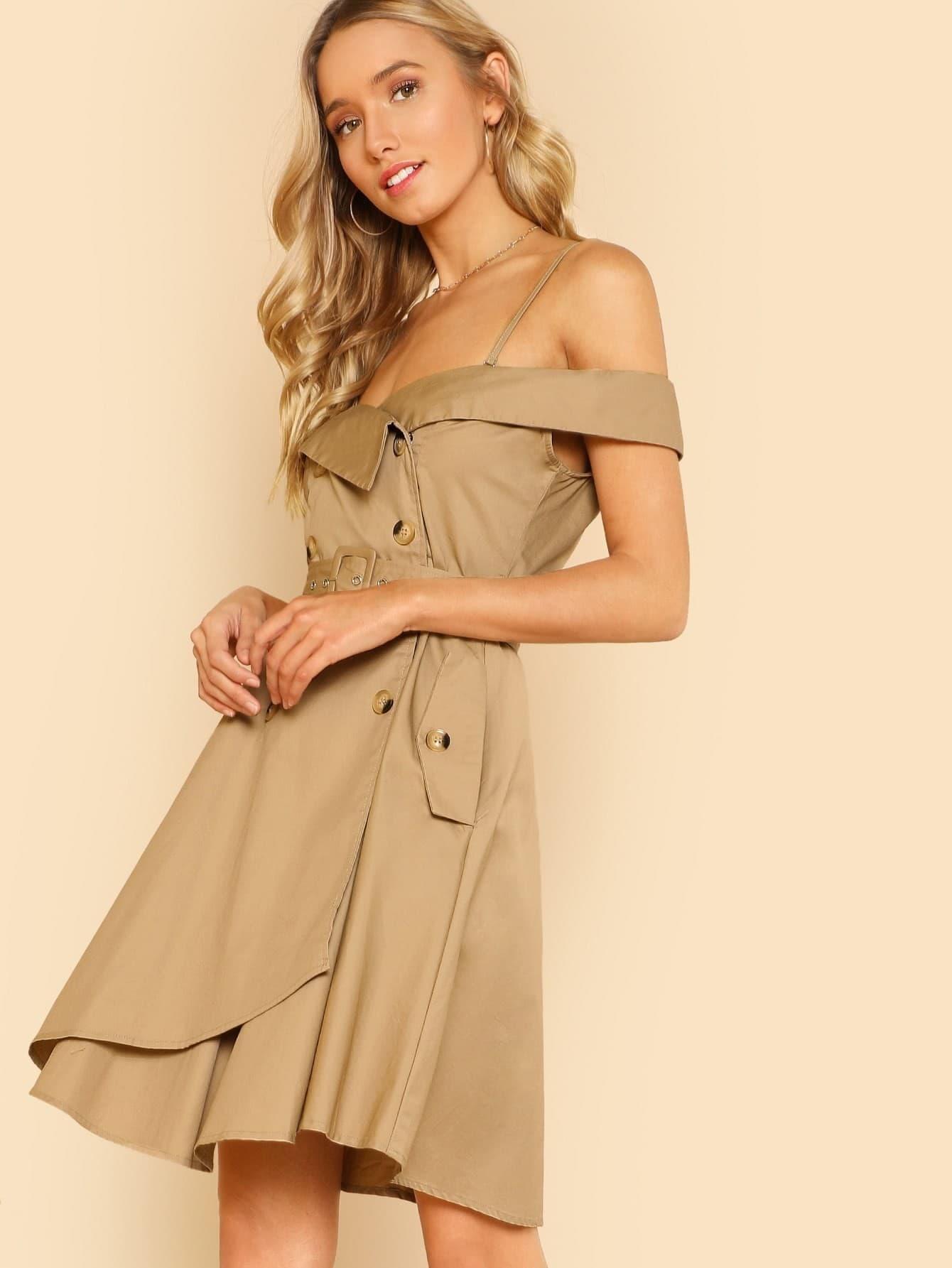 Button Detail Cold Shoulder Wrap Belted Dress cold shoulder ruffle detail pinstripe wrap dress