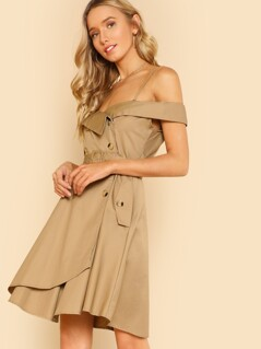 Cold Shoulder Belted Trenchcoat Dress KHAKI