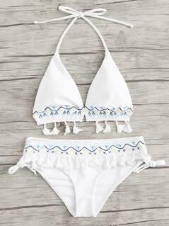 Crochet Tassel Trim Halter Bikini Set