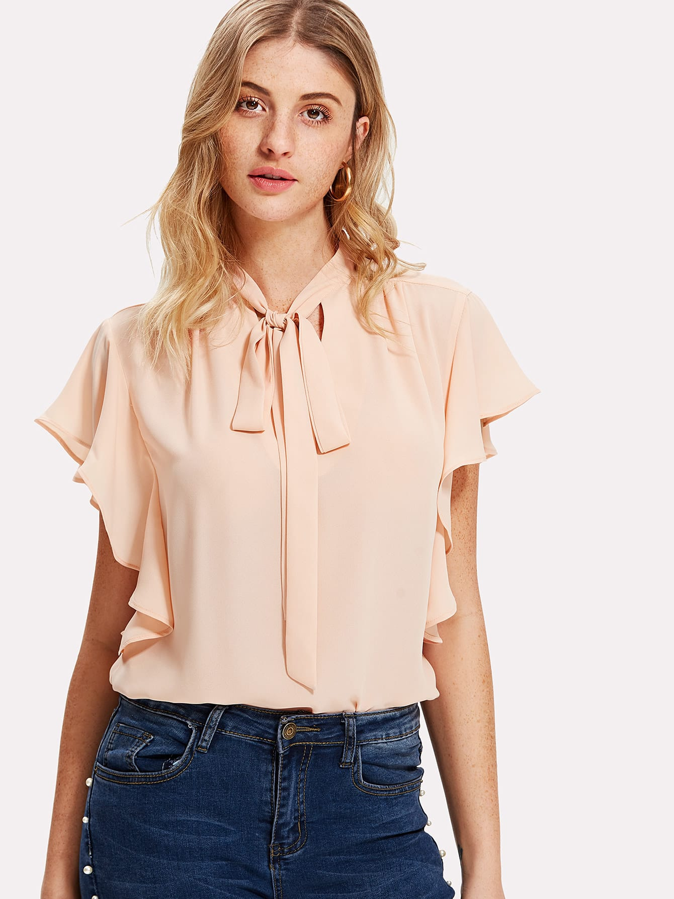Tie Neck Ruffle Trim Top exaggerate bow tie neck ruffle trim top