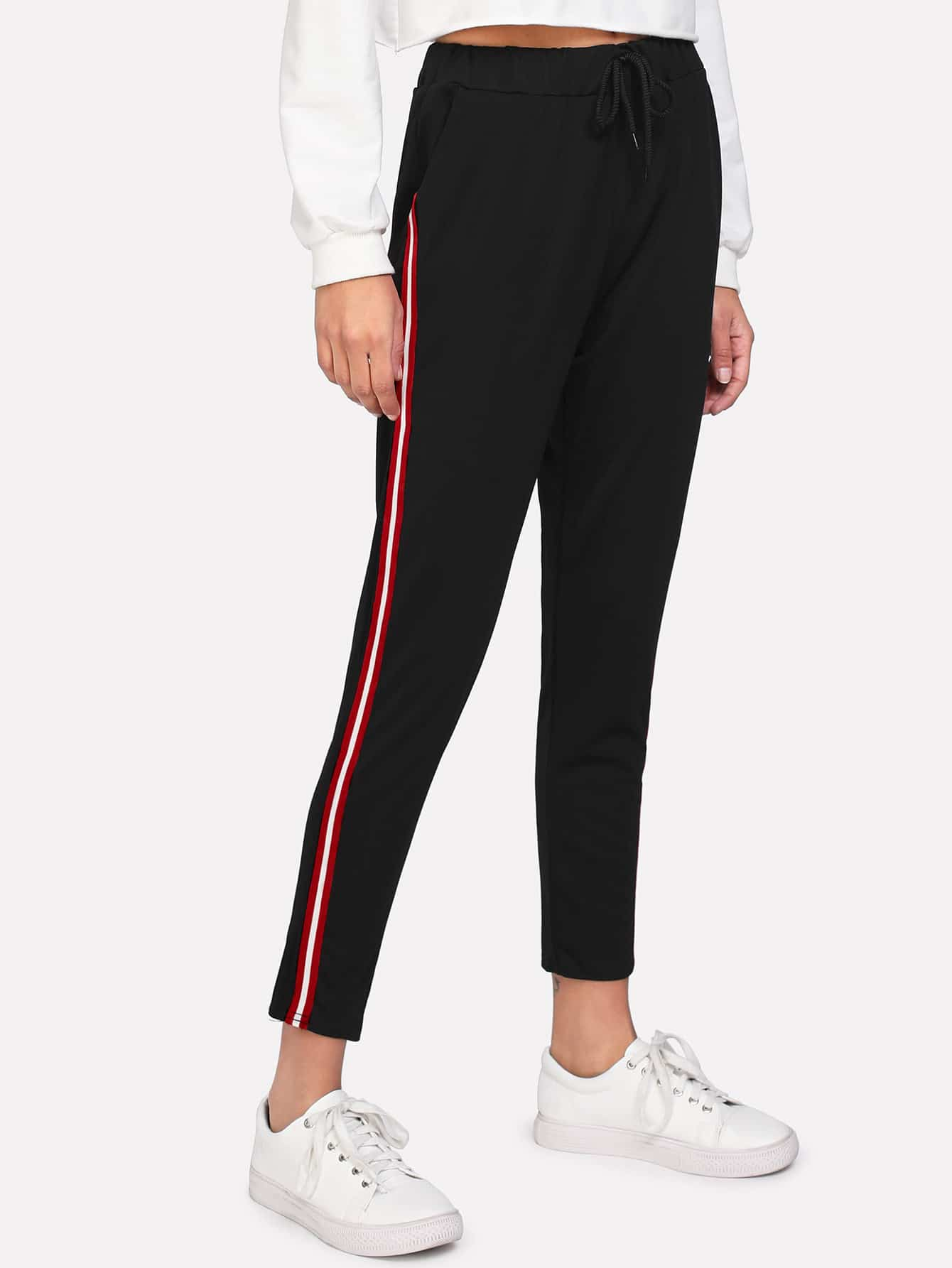 Striped Tape Side Drawstring Pants
