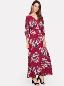 Cutout Waist V Back Floral Kimono Dress