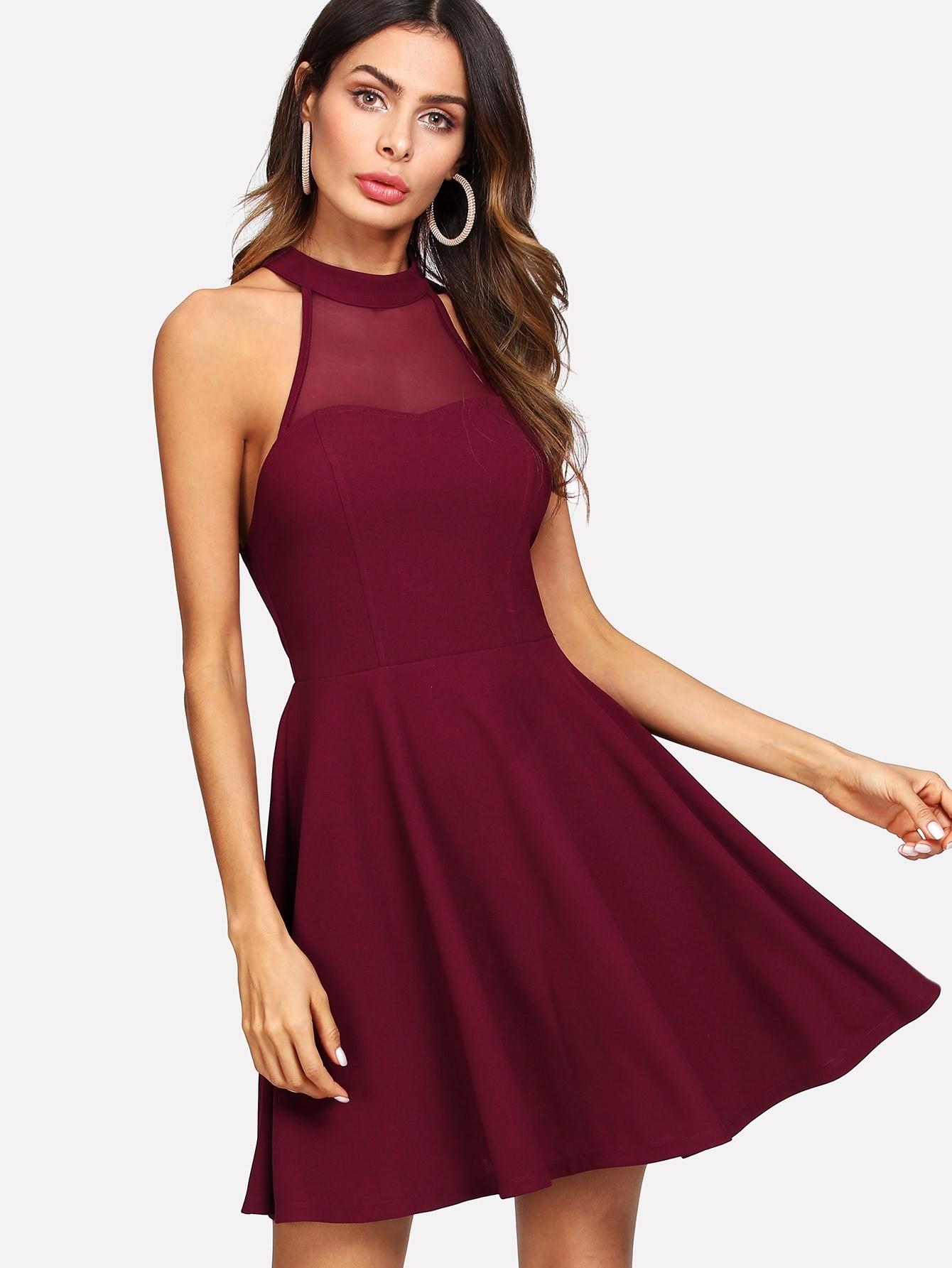 Купить Модное платье с сетчатой вставкой и открытой спиной, Andy, SheIn