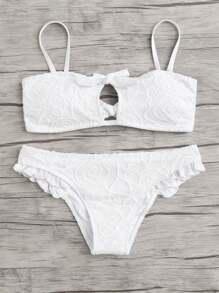 Lace Overlay Frill Bikini Set