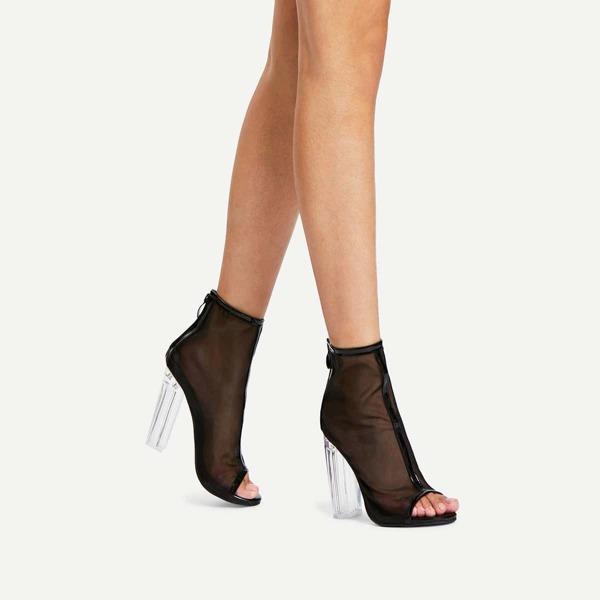 Net Yarn Peep Toe Chunky Heels
