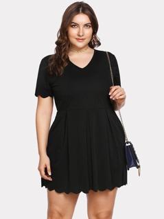 Plus Scallop Trim Box Pleated Solid Dress