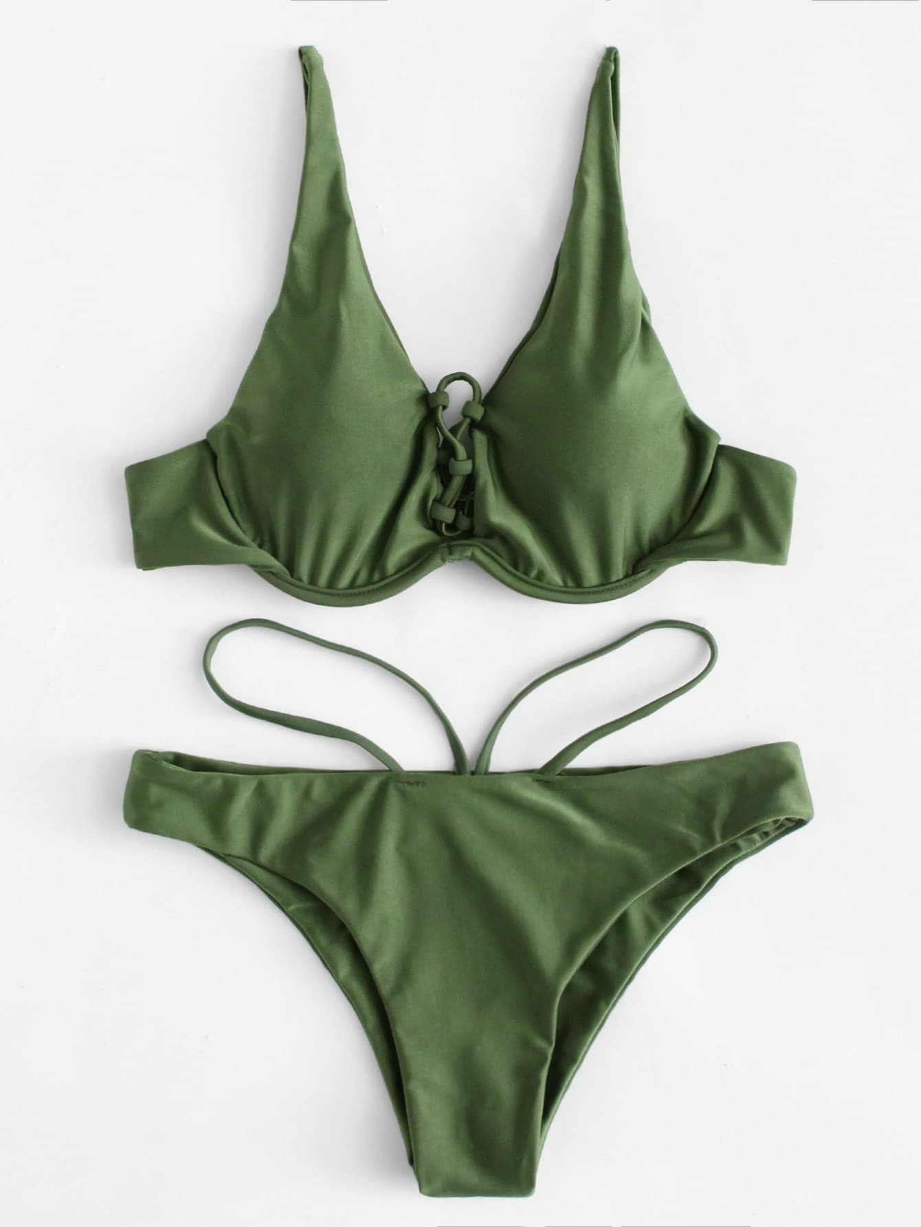 Фото Criss Cross Bikini Set checker knot bikini set