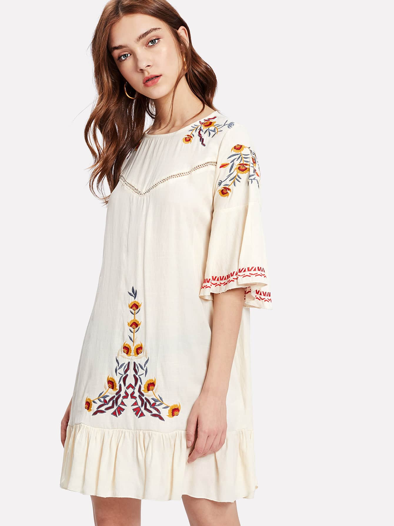 Ruffle Hem Flower Embroidered Dress embroidered double layer asym hem sheath dress
