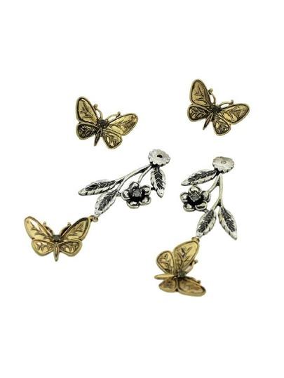 Ethnic Butterfly Flower Leaf Drop Earrings