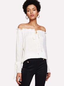 Off Shoulder Tie Front Blouse