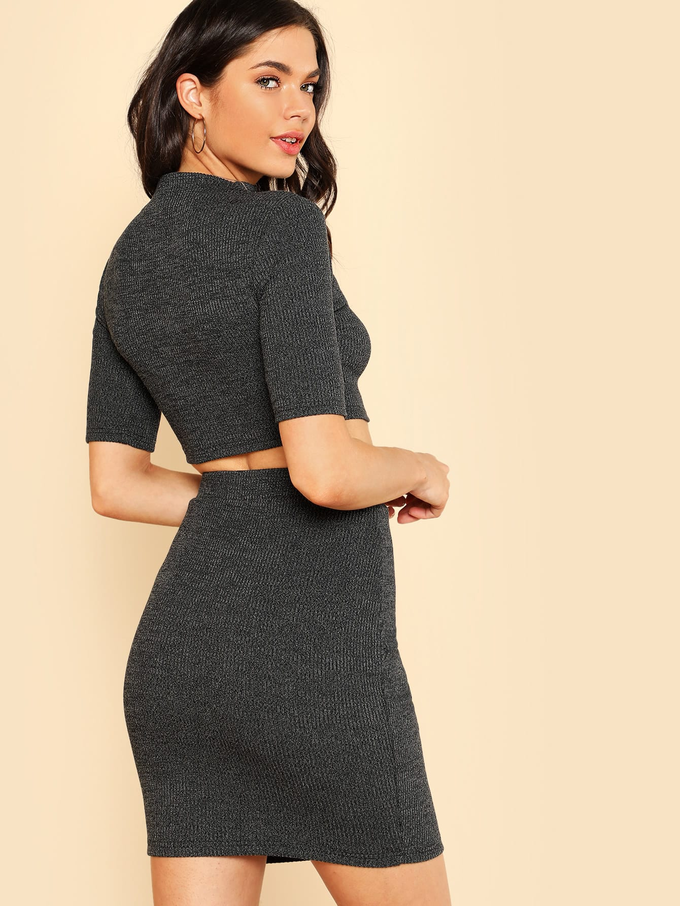 Heather Knit Crop Top & Pencil Skirt Co-Ord marled knit crop top with split skirt