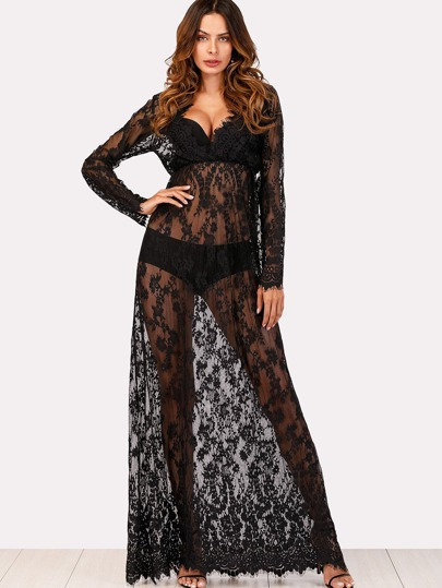 Eyelash Lace See-Through Flowy Dress