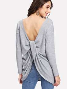 Twist Detail Back Marled Tee