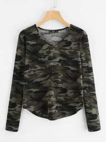 V Neckline Camo Print Chest Pocket Tee