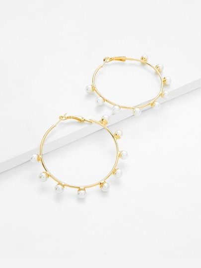 Faux Pearl Decorated Hoop Earrings