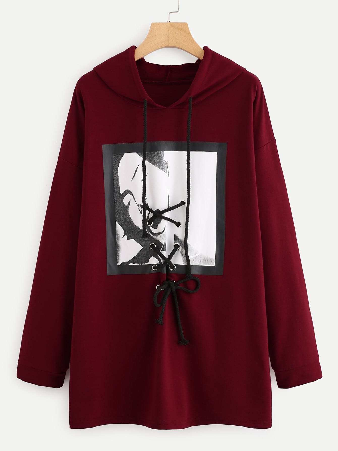 Graphic Print Lace Up Hoodie
