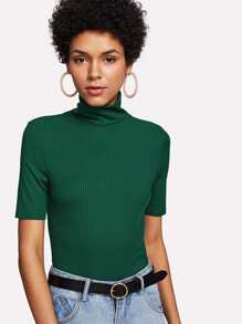 High Neck Rib Knit T-shirt ROMWE