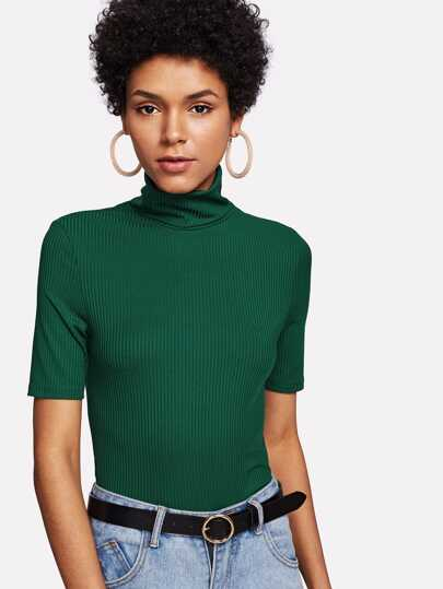 High Neck Rib Knit T-shirt