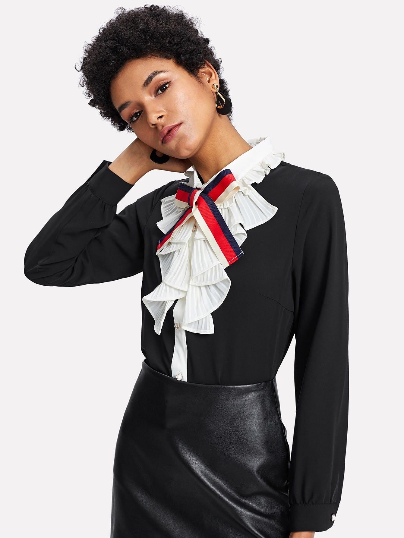 Bow Tie Front Ruffle Shirt bow tie front drop shoulder sweatshirt
