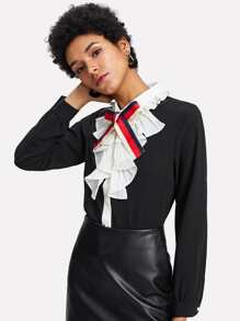 Bow Tie Front Ruffle Shirt