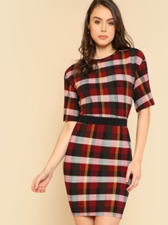 Plaid Box Tee & Skirt Co-Ord